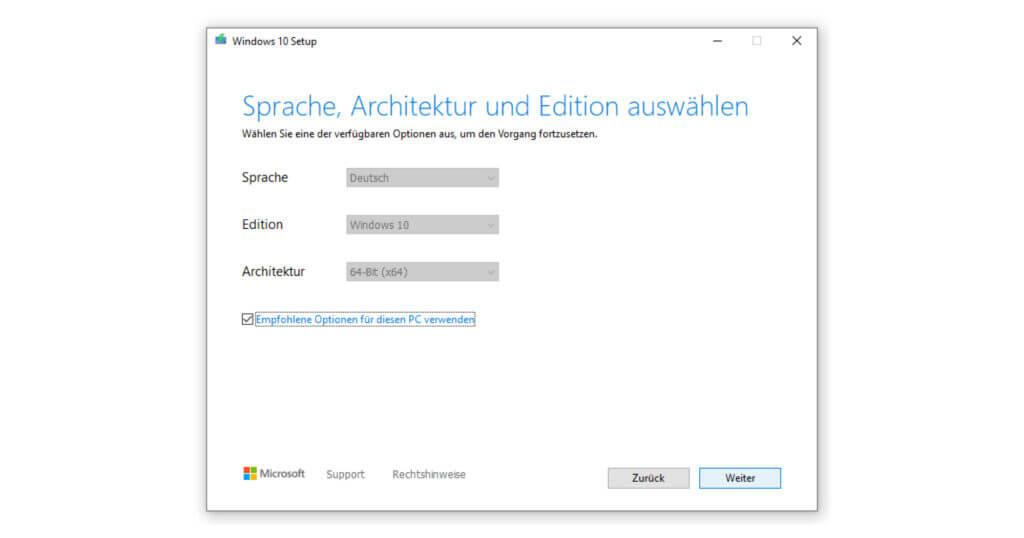 Wähle die passende Modifikation deines Betriebssystems