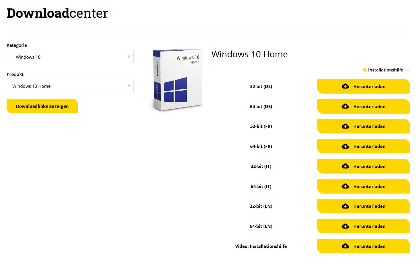 Im Downloadcenter von keyportal.pl die passende Ausführung herunterladen