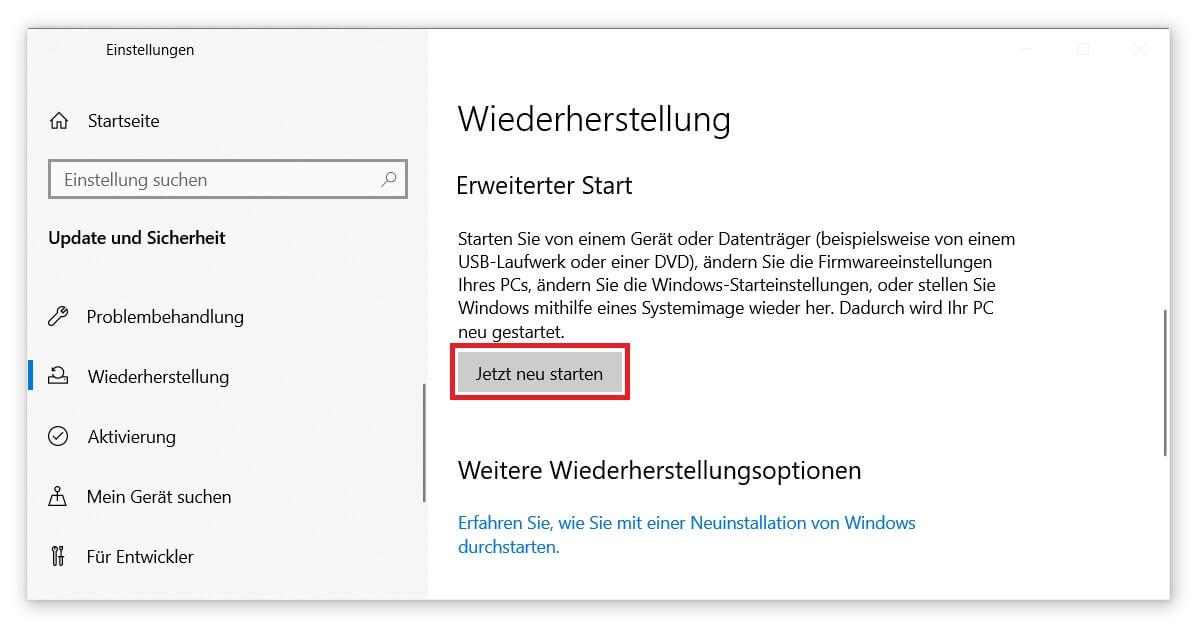 Bootmanager bearbeiten und reparieren mit dem Erweiterten Start von Windows 10