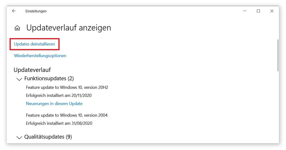 So kannst du ein Windows 10 Update deinstallieren oder löschen