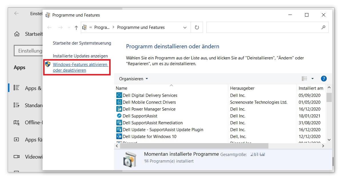 Hyper-V unter Windows Features aktivieren
