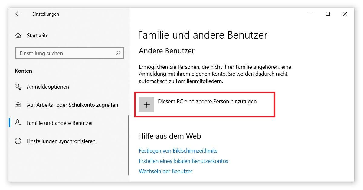 Über das Benutzerkonto den Microsoft Store neu installieren