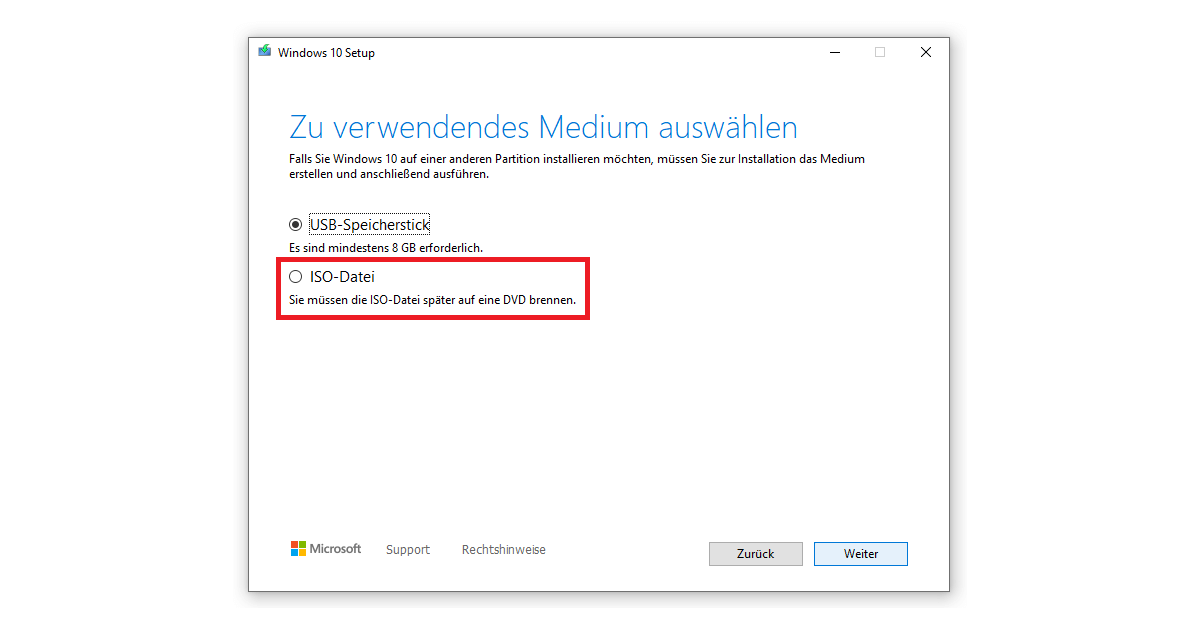 ISO-Datei nach dem Media Creation Tool Download