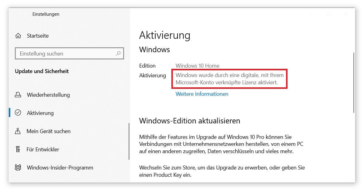 Upgrade Windows 10 Home auf Windows 10 Pro dank digitaler Lizenz