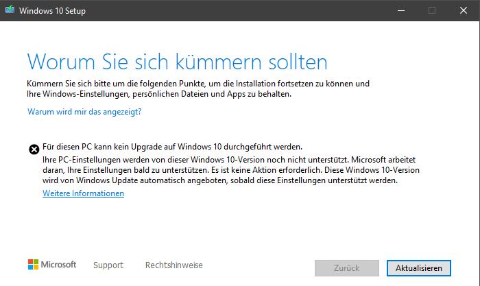 Für diesen PC kann kein Upgrade auf Windows 10 durchgeführt werden